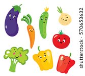 Set Of Cute Vegetables In The...