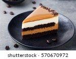 caramel cake  mousse dessert on ... | Shutterstock . vector #570670972
