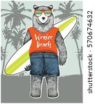 Bear With Surfboard