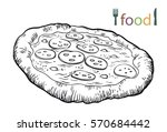 pizza on a white background | Shutterstock .eps vector #570684442