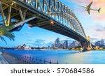 passenger airplane over sydney  ... | Shutterstock . vector #570684586