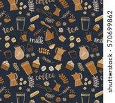 coffee background  vector han... | Shutterstock .eps vector #570699862
