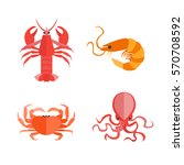 cartoon set of seafood can be... | Shutterstock .eps vector #570708592