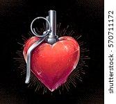 Heart Grenade Art Vector Art....