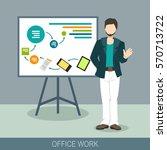 business concept. a man making... | Shutterstock .eps vector #570713722