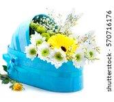 gift stroller of fresh flowers... | Shutterstock . vector #570716176