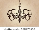 chandelier painted by hand.... | Shutterstock .eps vector #570720556