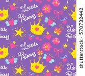 little princess pattern vector. ... | Shutterstock .eps vector #570732442