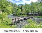 wooden bridge on river pliva...