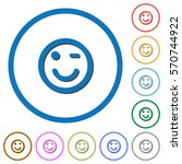 winking flat color vector icons ...   Shutterstock .eps vector #570744922