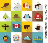 canada travel icons set. flat... | Shutterstock .eps vector #570757792