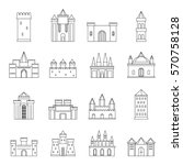 towers and castles icons set.... | Shutterstock .eps vector #570758128