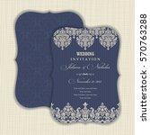 wedding invitation with baroque ... | Shutterstock .eps vector #570763288
