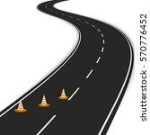 winding road with traffic cones ... | Shutterstock .eps vector #570776452