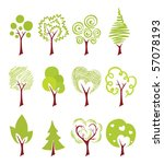 abstract icon trees | Shutterstock .eps vector #57078193