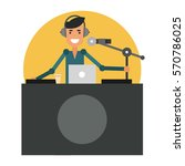 fun dj in the workplace. radio... | Shutterstock .eps vector #570786025