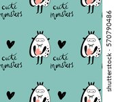 vector cute monsters pattern on ... | Shutterstock .eps vector #570790486