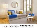 cozy living room with big window | Shutterstock . vector #570792316