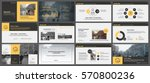 Yellow and grey elements for infographics on a white background. Presentation templates. Use in presentation, flyer and leaflet, corporate report, marketing, advertising, annual report, banner. | Shutterstock vector #570800236
