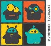set of four retro postage s... | Shutterstock .eps vector #570803368