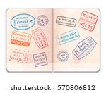 realistic open foreign passport ... | Shutterstock . vector #570806812