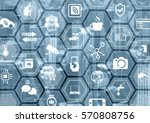 smart home automation blue and...   Shutterstock . vector #570808756
