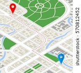 detailed city map in isometric... | Shutterstock . vector #570812452