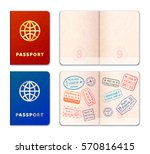 blue and red realistic passport ... | Shutterstock . vector #570816415