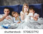 family of four has a flue and... | Shutterstock . vector #570823792