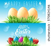 happy easter. green grass and... | Shutterstock .eps vector #570824146