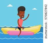 african american tourist riding ... | Shutterstock .eps vector #570827842
