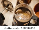 making coffee in french press.... | Shutterstock . vector #570832858