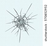 broken glass effect. hole in... | Shutterstock .eps vector #570852952