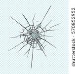 broken glass effect. hole in... | Shutterstock .eps vector #570852952