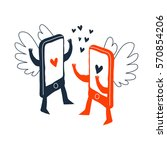 two smartphones with love...