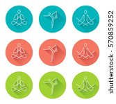 yoga line art icons with long... | Shutterstock .eps vector #570859252