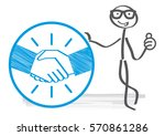 stick figure holds sign.... | Shutterstock .eps vector #570861286