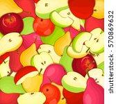 ripe juicy pear apple... | Shutterstock . vector #570869632