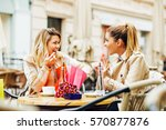 two women have fun after...   Shutterstock . vector #570877876