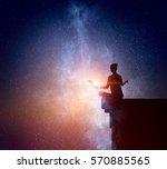 yoga as physical and spiritual... | Shutterstock . vector #570885565