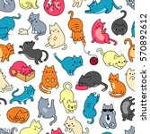 cat colorful seamless vector... | Shutterstock .eps vector #570892612