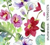 watercolor flower pattern.... | Shutterstock . vector #570901576