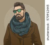 handsome hipster man in... | Shutterstock .eps vector #570912445