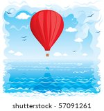 red balloon flying under the sea | Shutterstock .eps vector #57091261