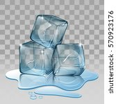ice cube  set with transparency ... | Shutterstock .eps vector #570923176