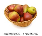 Pears In Basket On White...