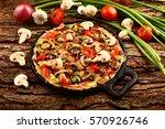 tasty brunch mushroom spinach... | Shutterstock . vector #570926746