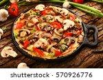 healthy breakfast mushroom... | Shutterstock . vector #570926776