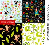 4 vector seamless pattern with... | Shutterstock .eps vector #570927772