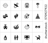 set of 16 editable baby icons....   Shutterstock .eps vector #570927922